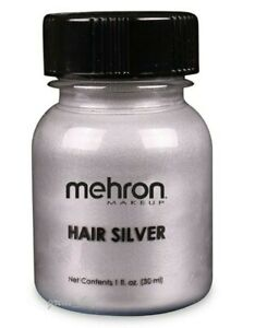 MEHRON HAIR SILVER COLORANT WITH BRUSH_STAGE,COSTUME MAKEUP_ 1 OZ
