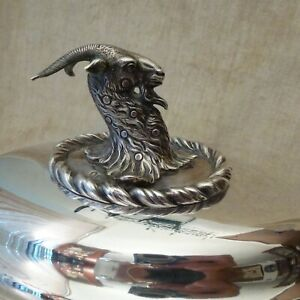 English Sterling Silver Goat Figural Finial Paul Storr style plate Serving Dish