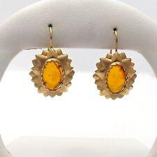14k Gold Natural Amber Sunburst Lever Back Earrings 6.2gr