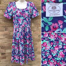 VTG Nightingales Pleated Dress UK 14 Pink Floral Print Summer Retro Rockabilly