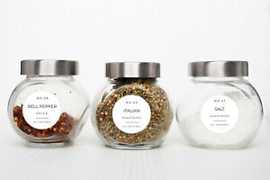 Spice, Herb & Seasoning - 50 Pre-Printed Labels, Modern Design, Waterproof