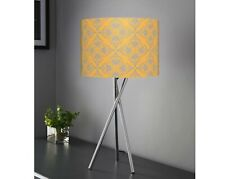 Bedside Table Lamp Tripod Lamp Mustard Grey Fabric Shade