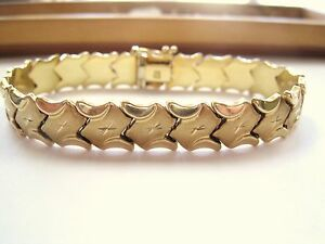 """LQQK GORGEOUS DESIGN real 14K yellow GOLD wide BRACELET ladies Must See 7.5"""""""