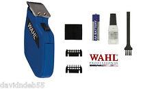 WAHL sans Fil Poche Mini Trimmer / Clipper Set-Blade, Guide Combs, Pile Kit Bleu