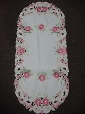 "16X72"" Embroidered Table Runner TableClothes Table Linen Topper Pink Floral Oval"