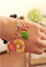 Romantic Pretty Young Girl Candy Crystal Flower Leaf Ladybug Stretch Bracelet