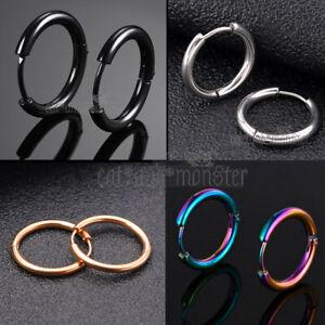 8mm-16mm Mens Lady Kid Plain Round Band Ear Piercing Hoop Ring Sleeper Earrings