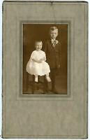 """Antique Studio Photo in Folder - WHITE Family, Little Boy & Girl """"Dale & Velma"""""""