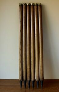 6 Vintage Cricket Stumps. Antique Slazenger Wickets with Brass Tops. Sport Shop