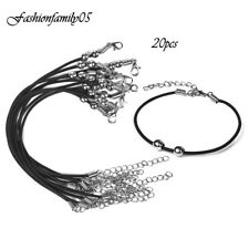 20pcs Leather Chains Bracelet Charms Findings String Cord Lobster Clasp Beads