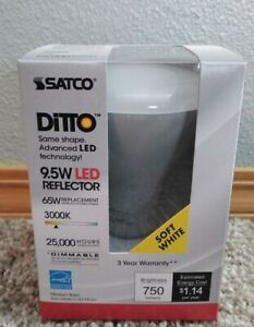 6Pk - SATCO S9621 9.5W BR30 LED 750Lm 3000K Soft White Dimmable Bulb - 65w