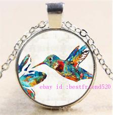 Hummingbird Photo Cabochon Glass Silver//Black//Bronze Chain Pendant Necklace#DL9