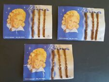 Vintage Hair Clips Luna Germany Curved Long Bobby Pins NOS Lot of 3