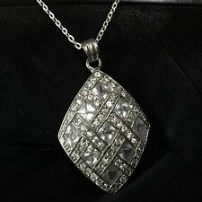 """Weave Pendant Necklace 18"""" Long Stunning Estate Sterling Silver Cubic Zirconia"""