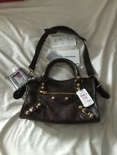New Balenciaga Brown Shoulder City Mini Bag Purse