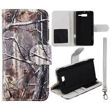 For Motorola Droid RAZR M XT907 Pine Camo Plane Leather Flip Wallet  Case Cover