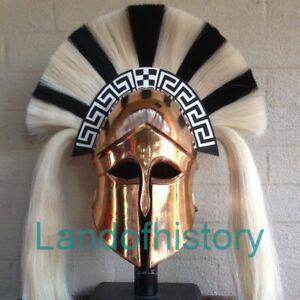 Medieval Greek Corinthian Helmet With Black & White Plume