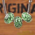New 10pcs 14mm European Bracelet Resin Geometry Frame Big Hole Beads Green