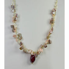 Gold Wire Crocheted Necklace with Glass Pearls and Shells