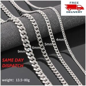"""Mens Boys Curb Chain Stainless Steel Silver 4mm-6mm Cuban Necklace Men 20""""-26"""""""