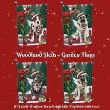 Christmas Woodland Sled Dog Cat Pet Lovers Photo Decorative Garden Flag Gift