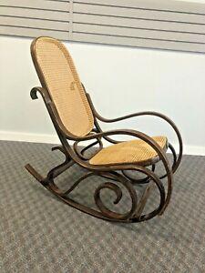 Vintage BENTWOOD ROCKER cane back bottom rocking chair mid century modern brown