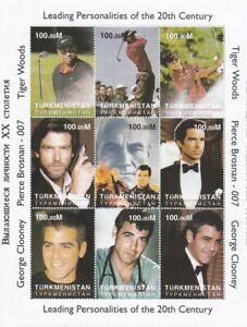 turkménistan feuille 9 timbres neufs célébrités