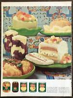 1966 Del Monte Canned and Jarred Fruits Print Ad Desserts Parfaits Cakes Molds