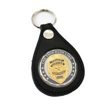 """Leather Challenge Coin Holder Key Ring FOB Chain 1.5"""" Poker Chip Case"""