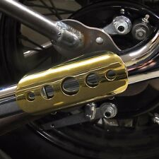 "6"" SHORT SOLID BRASS BULLET HOLE HEAT SHIELD EXHAUST GUARD HARLEY BOBBER CHOPPER"