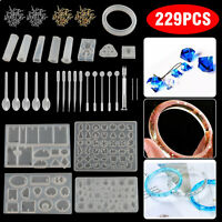 229Pcs Resin Casting Molds Tool Kit Silicone Making Jewelry DIY Pendant Mould US