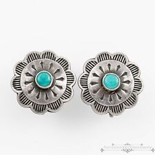 Antique Vintage Native Navajo Sterling Coin Silver Turquoise Stamp Disc Earrings