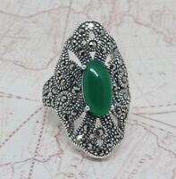 Authentic Turkish Solid 925 Sterling Silver Women Ring Green Agate Gemstone