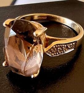 9ct Yellow Gold Smoky Quartz Ring ~ UK made (2006) ~ Size N