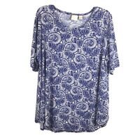 Chico's Womens Size 3 Blue White Graphic Print Short Sleeve Stretch Blouse Top