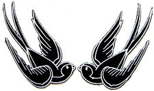 Pair Of Swallows Rockabilly Kitsch Embroidered Bird Birds Sew On Iron On Patch