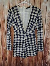 Cals Womens Small Romper LS Plunging Neckline Blue & Cream Houndstooth Back Zip