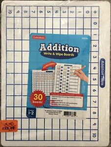 Write-On Wipe-Off Addition Whiteboard Dry Erase Mats by Lakeshore Math Class Set