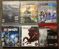 Lot of 6 Sony Playstation 3 PS3 Games Bundle Sniper,Skyrim,Medal of Honor..