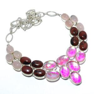 "Rainbow Mystic Topaz & Mahogany Obsidian 925 Sterling Silver Necklace 17.99"" T36"