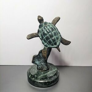 Bronze Art Sea Turtle Sculpture Statue with Patina on a Marble Base