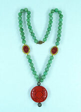 Chinese Jade Silver Cinnabar Necklace