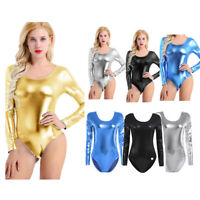 Women's Long Sleeve Stretch Bodysuit Leotard Body Top T shirt Ballet Jumpsuit