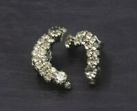Vintage Clear Rhinestone Climber Crawler Clip On Earrings c25