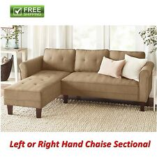 Reversible Sectional Sofa Sand Microfiber Chaise Couch Living Room Furniture New