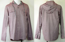 IM Imperial Motion Burgundy Chambray Hooded Long Sleeve Button-Front Shirt XL