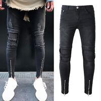 Mens Skinny Stretch Fit Ripped Denim Jeans Destroyed Zipper Biker Pants Trousers