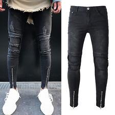 Men Pants Destroyed Frayed Ripped Biker Jeans Slim Stretch Denim Trousers Black