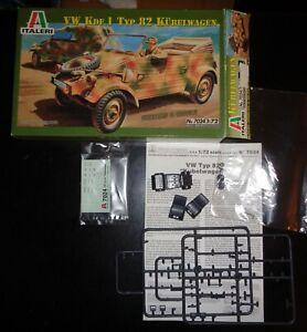 Italeri # 7204 1/72 Scale WWII German VW KDF.1 Type 82 Kubelwagen Model Kit