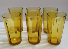 Set 6 paneled ribbed Tumblers drinking yellow Pedestal Amber glasses 12oz
